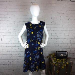NWT Halogen navy floral shift dress w/ ruffled hem